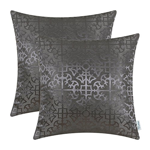 CaliTime Pack of 2 Throw Pillow Covers Cases for Couch Sofa Home Decor Vintage Shining & Dull Contrast Cross Flowers Trellis Geometric Figure 18 X 18 Inches Grey