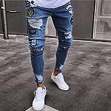 Vaqueros para Jeans Pantalones Pantalones De Chándal para Hombre Pantalones Vaqueros con Agujeros Sexy Pantalones Casuales Cremallera De Pie Pantalones Pitillo Rasgados para Hombre