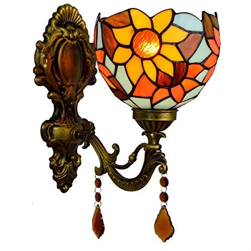 QCY AT Aplique de Cristal Adornado British baño clásico Espejo Faros Pastoral Retro Cristal de Noche la lámpara de Pared del Pasillo Bar Sun Linterna de la decoración