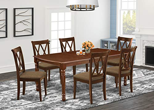 East West Furniture DOCL7-MAH-C 7-Pc rectangular dining table set Mahogany finish-A Butterfly Leaf and 4 Legs small table & 6 Double X-Back kitchen dining chairs