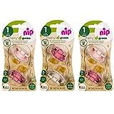 nip® Öko-Schnuller Schnuller CHERRY® Green Gr.1 ab Geburt, Multi-pack for Girls 0-6 Monate, 6er Pack