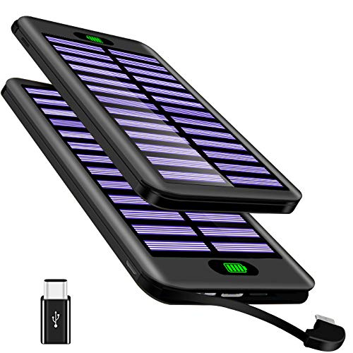 TSSIBE Powerbank 16000mAh, Tragbares Ladegerät Externer Akku USB Ladegerät mit (Lighting & Micro & Type C) 3 Input und Integriertem 2.4A Micro Kabel für iPhone, iPad Air, Samsung, Huawei-Schwarz