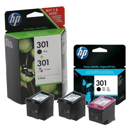 HP - Confezione da 3 cartucce di inchiostro originali nero/colori, resa: B 190/Tri 165 (E5Y87EE) per HP 301