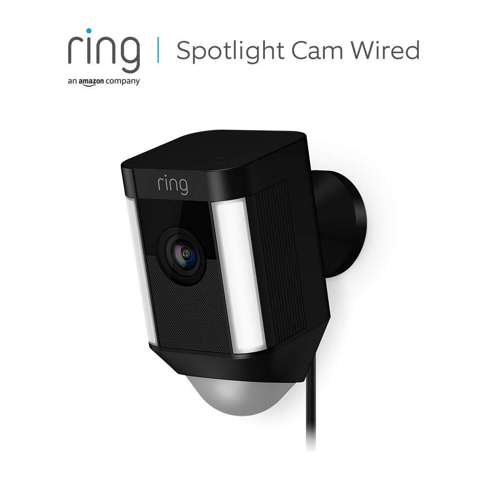 Ring Spotlight Cam Wired de Amazon | Cámara de seguridad HD con foco LED, alarma, comunicación bidireccional, enchufe UE | Prueba de 30 días gratis del plan Ring Protect