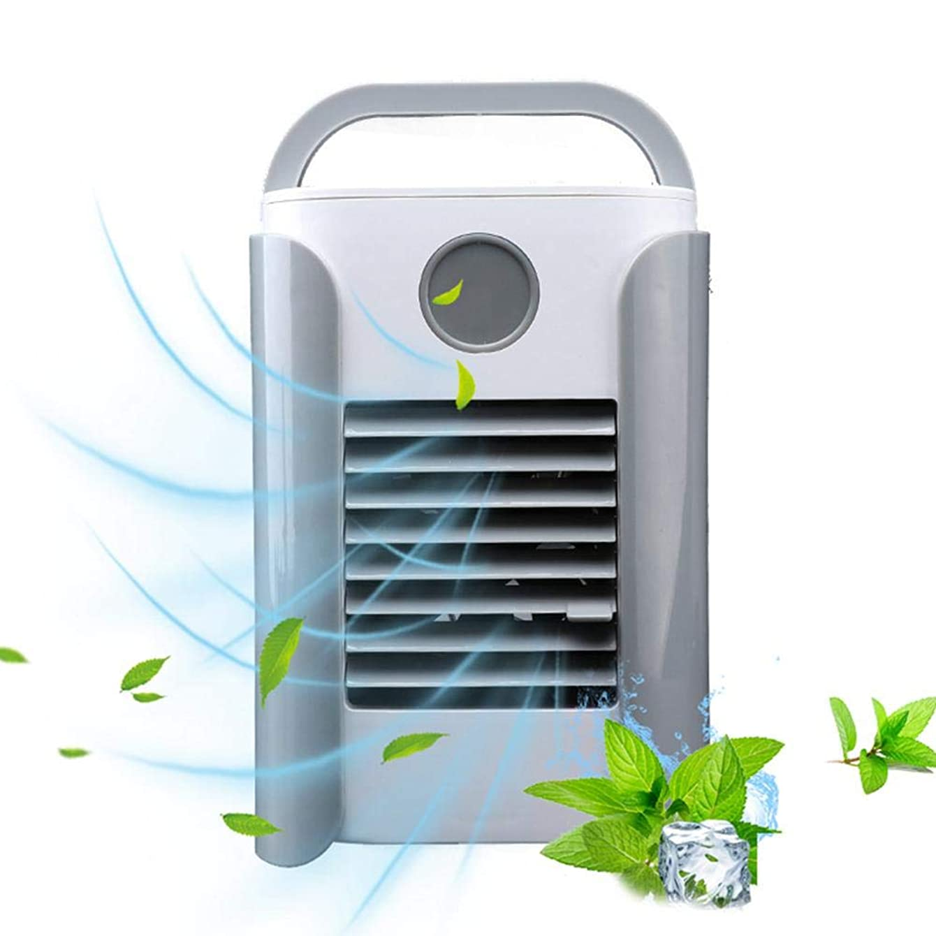 Volwco Air Cooler Mini Portable Air Conditioner Fan, 3 in 1 New USB Charging Air Conditioner Fan Personal Refrigerator Air Cooler Nano Fan Small Evaporative Cooler Air Humidifier