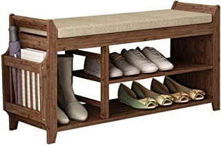 Rangement pour Banc à Chaussures pour Porte-Chaussures Meuble à Chaussures en Bambou avec Coussin de siège Amovible Brun N...