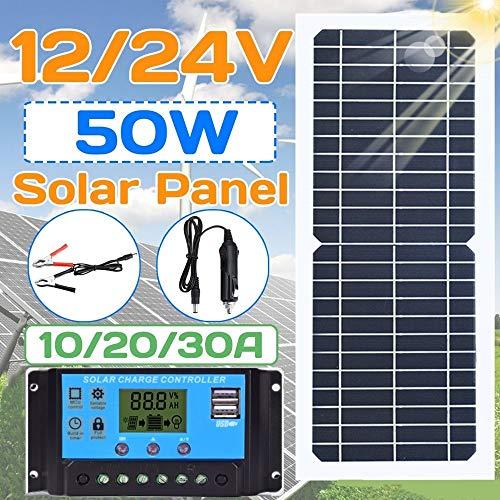 Framy Sonnenkollektor 100W / 50W Flexible Solar-Panel Mit 10-30A 12V 24V-Controller Kfz-Ladegerät Für RV-Auto-Boots-LCD-Display PWM-Controller,50W