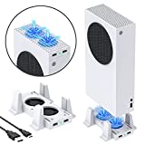 Cooling Stand Compatible with Xbox Series S, YUANHOT Dual Purpose Cooling Fan Cooler System Dock Station Accessories, 3 Level Adjustable Speed & 2 Extra USB Ports (Only Compatible with Xbox Series S)