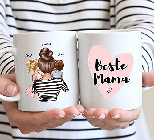 Uniheart Beste Mama - Personalisierte Tasse mit Mutter & Kind (1-2 Kinder) als individuelles Geschenk für Mama/ Familie