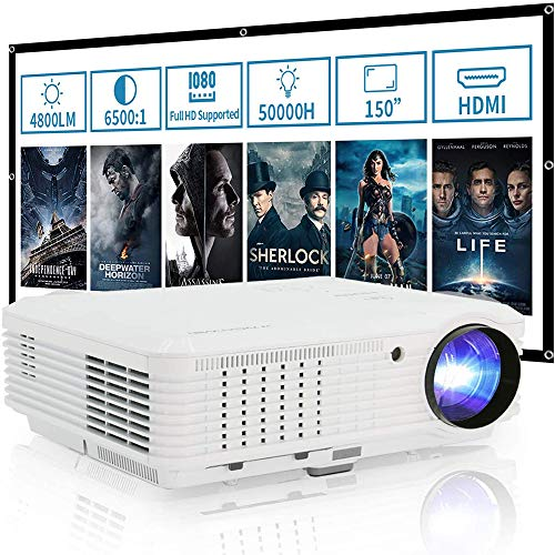 WIKISH 4800 Lumen Led Lcd Video Projector Home Cinema Projector Full Hd Support Zoom Hdmi Usb Av Vga Speaker for Indoor Outdoor Movie Gaming Laptop