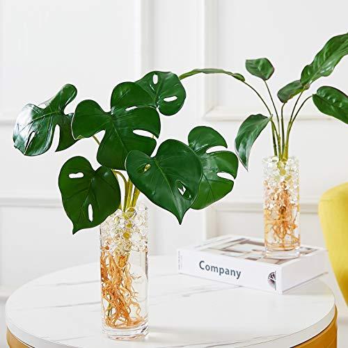 Olivachel Künstliche tropische Pflanzen Blätter mit Acrylglas-Vase für den Innenbereich, grüne Palmenblätter mit Wurzeln, DIY für Zuhause und Büro Paket 2- 2 Stück (Stil C + Stil D)