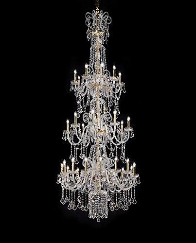 Bohemia Murano - Lampadario in vetro di cristallo di Murano in oro 24 carati trasparente   fatto a mano in Italia   Luster classico dimmerabile   Lampada E14