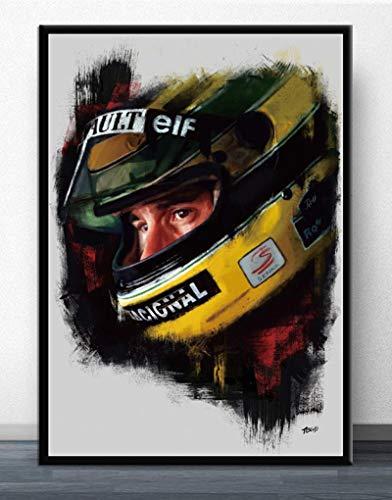 YF'PrintArt Impresiones En Lienzo, Póster Ayrton Senna F1 Formula Mclaren World Champion Pared Arte Lienzo Pintura Moderna para La Decoración De La Habitación del Hogar 50X70Cm No Cuadro,-Yf1372