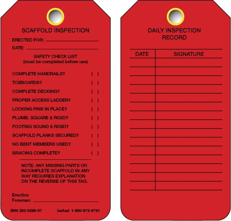 Beaed Online limited product - sold out Scaffold RED TAG Inspection