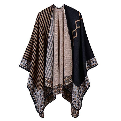 THTHT Sjaal Fashion Dames sjaal verdikking gestreepte kleine ruiten jacquard warm en lange herfst en winter Dual Use-Classic camel