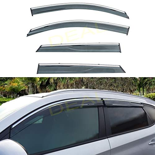 DEAL AUTO ELECTRIC PARTS 4-Piece Set Outside Mount Tape On/Clip On Type Smoke Tinted Sun/Rain Guard Vent Window Visors With Chrome Trim Compatible With 2016-2020 Tucson All Models