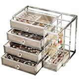Hersoo Glass Mirrored Jewelry Drawers Box Vintage Metal Edge Organizer Beauty Display for Necklace Earrings Rings Trinkets Jewelry Stand for Girls on Makeup Vanity Night Stand (Silver)