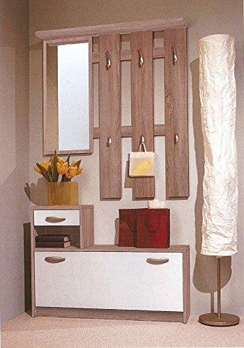 MJC Garderobe Vera, Kompaktgarderobe, Spiegel + Schuhkipper + Paneel, Sonoma Weiß