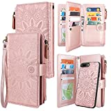 Harryshell Detachable Magnetic Zipper Wallet Leather Case Cash Pocket with 12 Card Slots Holder Wrist Strap for iPhone 8 Plus/iPhone 7 Plus / 6S Plus 5.5 Inch Floral Flower (Rose Gold)