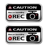 メイヴルアットホーム ドライブレコーダー ステッカー ドラレコ 車載カメラ 後方録画中 セキュリティーステッカー ドライブレコーダーステッカー シール 日本製(2枚セット/シルバー)