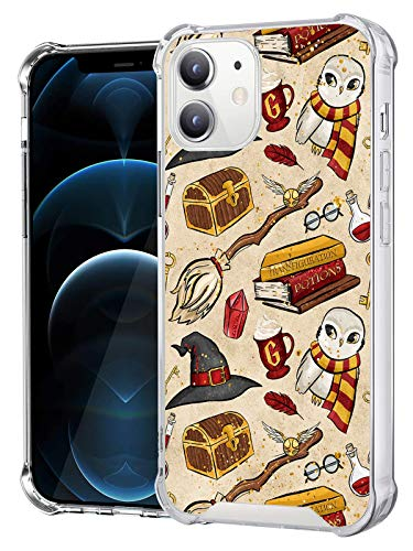 Compatible with iPhone 12 iPhone 12 Pro Clear Case, Shockproof Slim Fit TPU Cover Protective Phone Case for iPhone 12/12 Pro 6.1 inch (Harry-Magic-Potter)