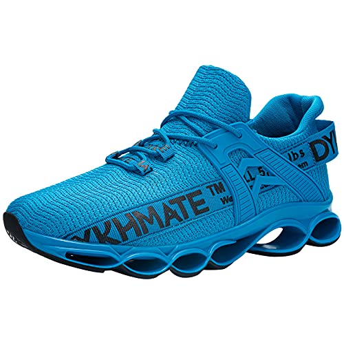 DYKHMATE Zapatillas de Deporte Hombres Mujer Running Zapatos para Correr Antishock Gimnasio Sneakers Deportivas Transpirables (Azul,42 EU)
