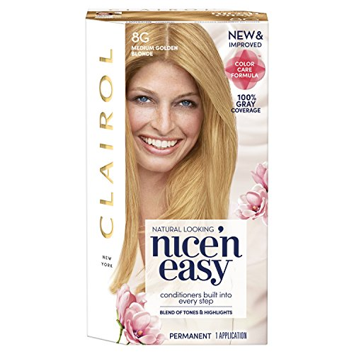 Clairol Nice'n Easy Permanent Hair Color, 8G Medium Golden Blonde, 1 Count
