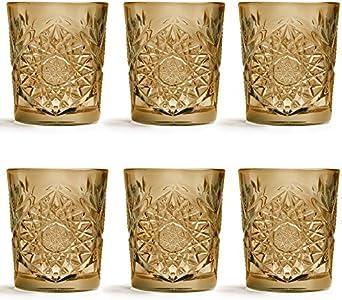 Vaso Hobstar Ocre de Libbey / – 355 ml/35,5 cl - 6 unidades – diseño vintage – apto para el lavavajillas