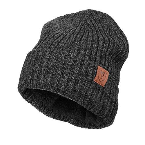 OZERO Winter Beanie Mütze,Thermo Strickmütze Laufmützen Wintermütze für Herren und Damen, Grau(Dicker Faden), 2