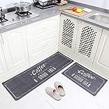 """Carvapet 2 Piece Non-Slip Kitchen Mat Rubber Backing Doormat Runner Rug Set(15""""x47""""+15""""x23"""")"""