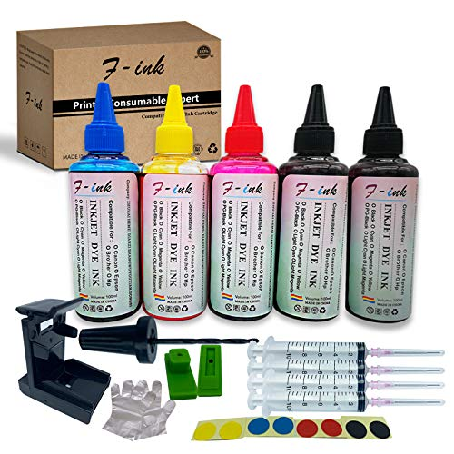 F-ink 5 Bottles Ink and Ink Refill Kits Compatible with Hp Inkjet Ink Cartridges 67XL 662XL 664XL 60XL 61XL 62XL 63XL 64XL 65XL 92XL 94XL 901XL-Ink Tools for Reuse The Cartridge