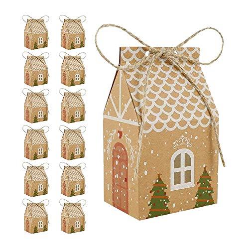 Gaoominy Cajas, Cajas de Dulces de Papel Kraft, Bolsas de Regalo de Fiesta, Cajas de Regalo de Papel para Decoraciones de Fiesta de Navidad, Paquete de 50