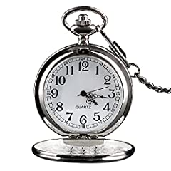 Classic design: the pocket watch features Roman numerals dial with vintage smooth surface, high quality quartz movement provides precise and accurate time keeping. Setting time: pull the crown away from the base of the watch, turn the crown clockwise...