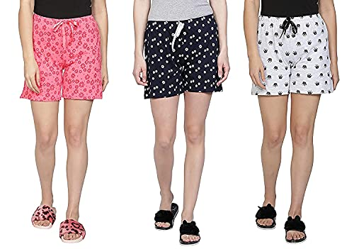 Club A9 Women's Cotton Printed Regular Shorts (Multicolour , Medium...