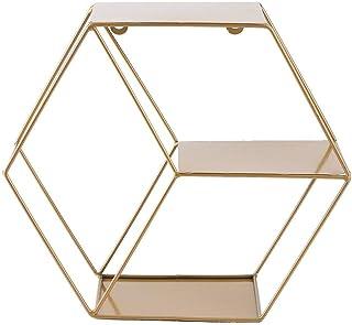 JJ. - Estantería de pared hexagonal flotante para casa de campo estante de almacenamiento hexagonal montado en la pared p...