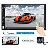 Double Din Car Stereo with Bluetooth 7 Inch Capacitive Touch Screen Car Stereo with Backup Camera Car Stereo with mirrorlink Car Radio Support Steering Wheel Control,USB,SD AUX in Functions