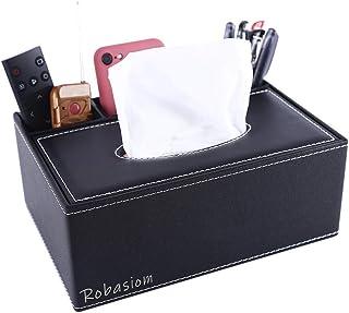 ThyWay Boîte de rangement multifonction en cuir PU pour stylo à crayons, télécommande, mouchoirs, pour la maison et au bur...