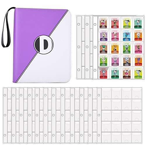 D DACCKIT 300 Spielkartenhalter für Animal Crossing Mini Amiibo-Karten, Aufbewahrungstasche für Nintendo Switch Spiele/PS Vita Spiele/SD Speicherkarten (lila & W)