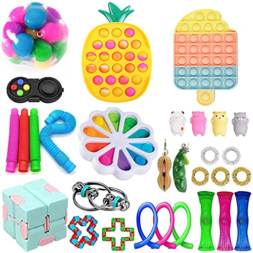 Fidget Toy Pack, Sensory Toys Set, Cheap Fidget Pack with Push Pop Bubble and Marble Mesh Pop on it Anxiety Tube, Stress Relief Toys for Adults and Kids (Sensory Toys Set 7)