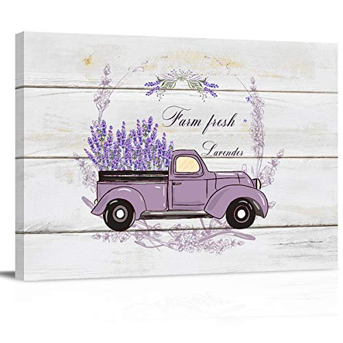 USA Rustic Old Purple Truck with Lavender Canvas Wall Art Prints Painting Picture, Wooden Texture Walls Decor Artworks for Living Room Bedroom Bathroom, Ready to Hang Arts, 24x16in