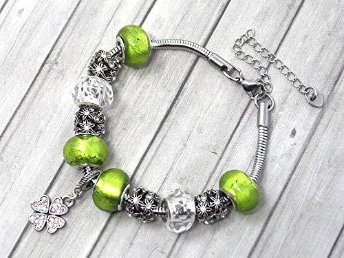 Pulsera de abalorios verdes para mujer de acero inoxidable con colgante de...