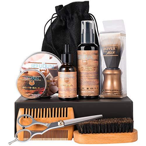 Beard Grooming Kit for Men, OriHea Beard & Mustache Care Kit W/Beard Shampoo, 100% Organic Beard Oil and Balm, Washing Brush, Beard Dual-sided Comb, Scissors & Travel Bag, Best Beard Care Kit - Brown