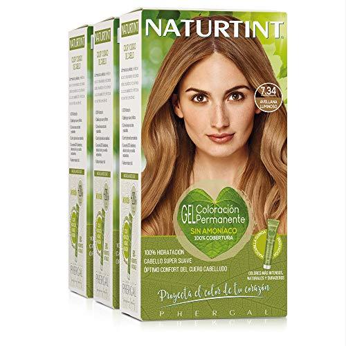 Naturtint Coloración 7.34 Avellana Luminoso. Tinte sin Amoniaco. 100% Cobertura de Canas e Hidratación. Ingredientes y Aceites Vegetales. Color Natural y Duradero. Pack de 3