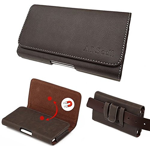 AISCELL Carrying Case Brown Suede Leather Pouch Case Belt Holster, for Galaxy A11, S20+,S20, Note20 Ultra, Note20,Note 10+,Note9, S10+,A50,A51, A20,A71 with Protective Case Cover on