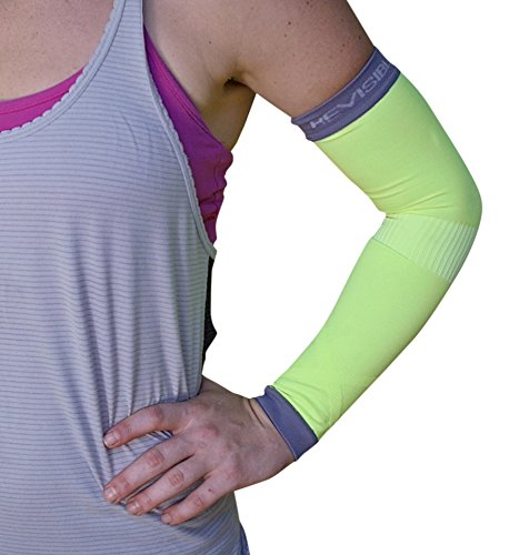 BeVisible Sports ARM COMPRESSION SLEEVES Best Support For Men Women and Youth - 1 Pair – For Prime Members – (Small/Medium, Green)