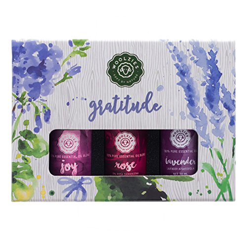 Woolzies 100% Pure & Natural Undiluted Gratitude Essential Oil Set | Highest Quality Aromatherapy Therapeutic Grade | Joy Blend, Lavender & Rose Oil | Popular for Relaxing Skin Healing Diffuse/Skin