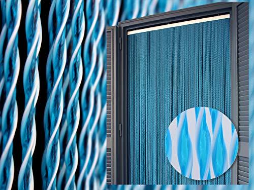 Cirillo Tende Tenda/Moschiera PVC –Modello Capri - Asta in Alluminio - Made in Italy - Misure Standard (90X200/95X200/100X220/120X230/130X240/150X250) - (cm 80x200h, 2 - Blu)