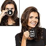 Gadget Masters Have a Nice Day - Mittelfinger lustige Tasse für Milch Saft Kaffee oder Tee Keramik Tasse schwarz
