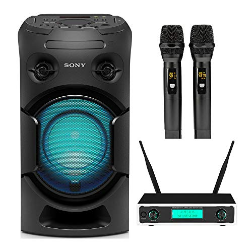 Sony MHC-V21 High Power Audio System with Bluetooth with Knox Gear Dual Wireless Microphone Set Bundle (2 Items)