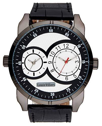 Louis villiers heren horloge analoog kwartsuurwerk met lederen armband LVW18001